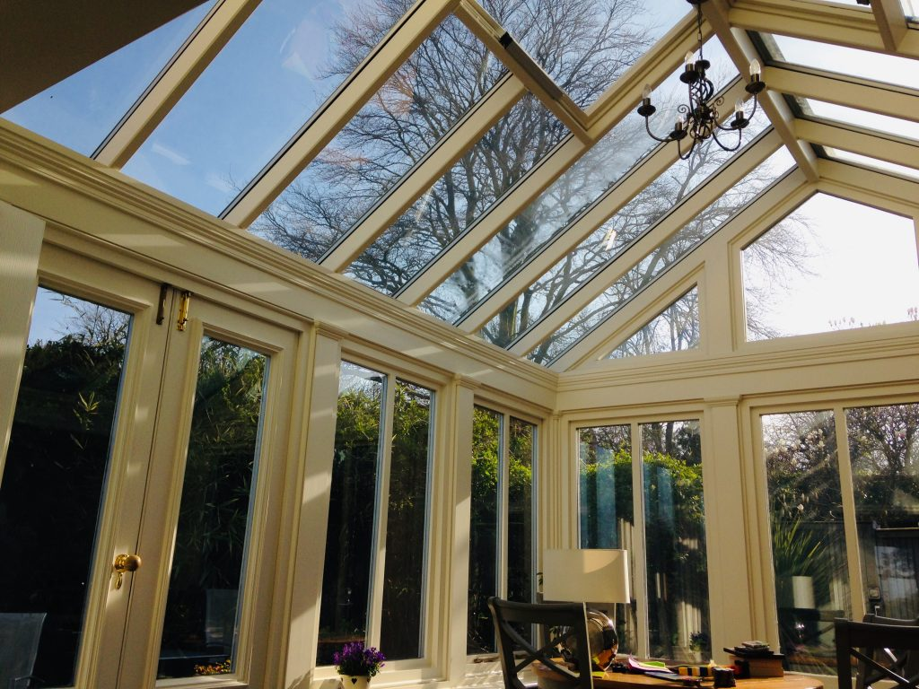 slider showing painted conservatory